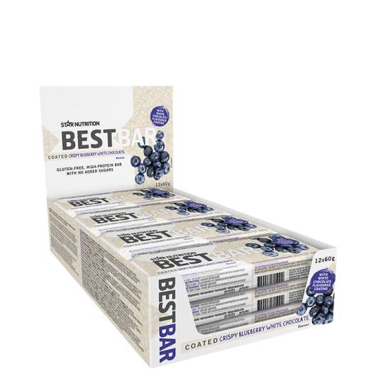 12 x Best Bar, 60g,COATED Crispy Blueberry White chocolate, kort datum