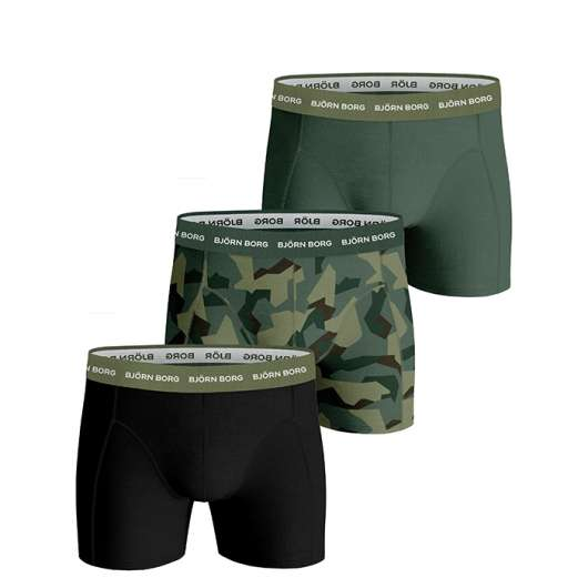 3-Pack BB Nordic Camo Sammy Shorts, Duck Green