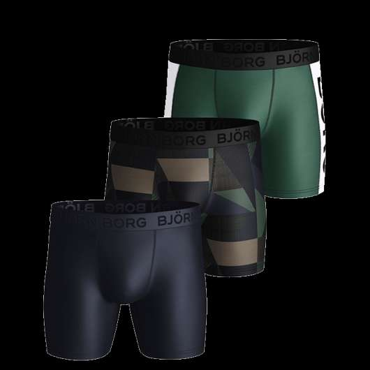 3-Pack Performance Shorts BB Textured Block, Duck Green