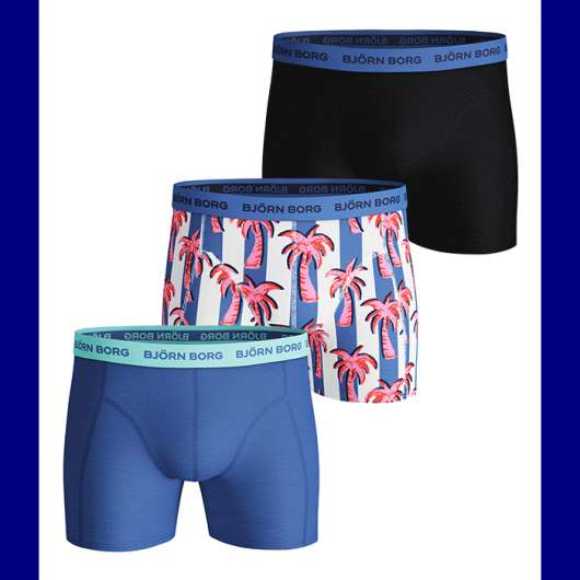 3-Pack Sammy Shorts BB Palmstripe, Ultramarine