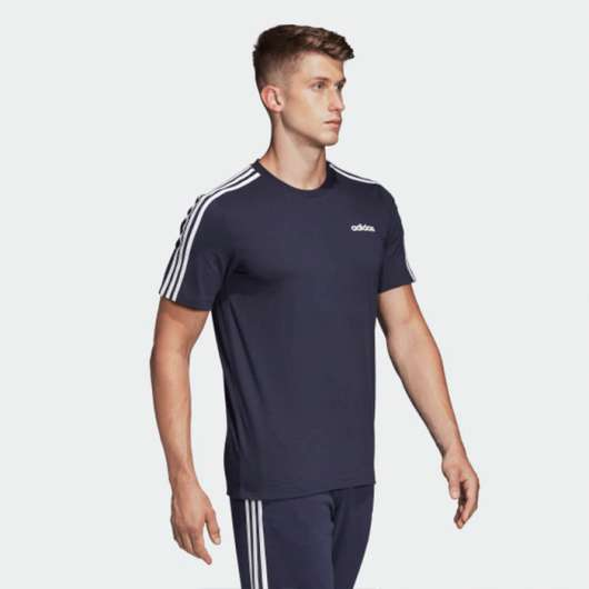Adidas Essential 3 Stripe Tee, Black