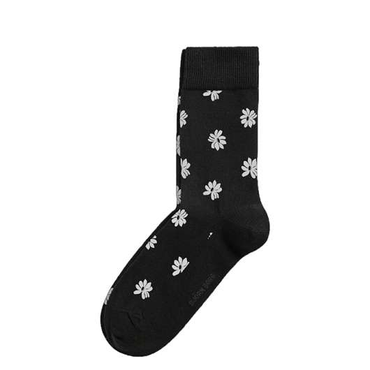 BB Simple Flower Ankle Sock, Black Beauty, 41-45