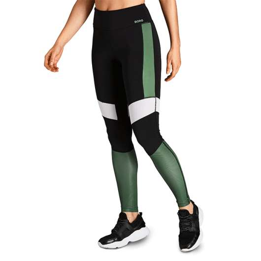 Borg High Waist Block Tights, Duck Green