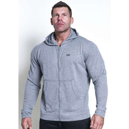 Chained Zip Gym Hood, Grey
