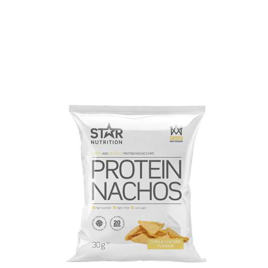 Protein Nachos, 30g, Corn and Chicken, Kort datum