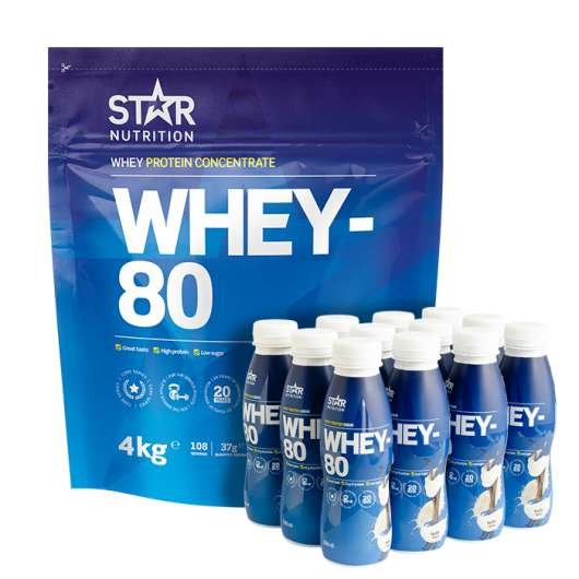 Whey-80, 4 kg + 12 pack Whey-80, Drink, 330ml